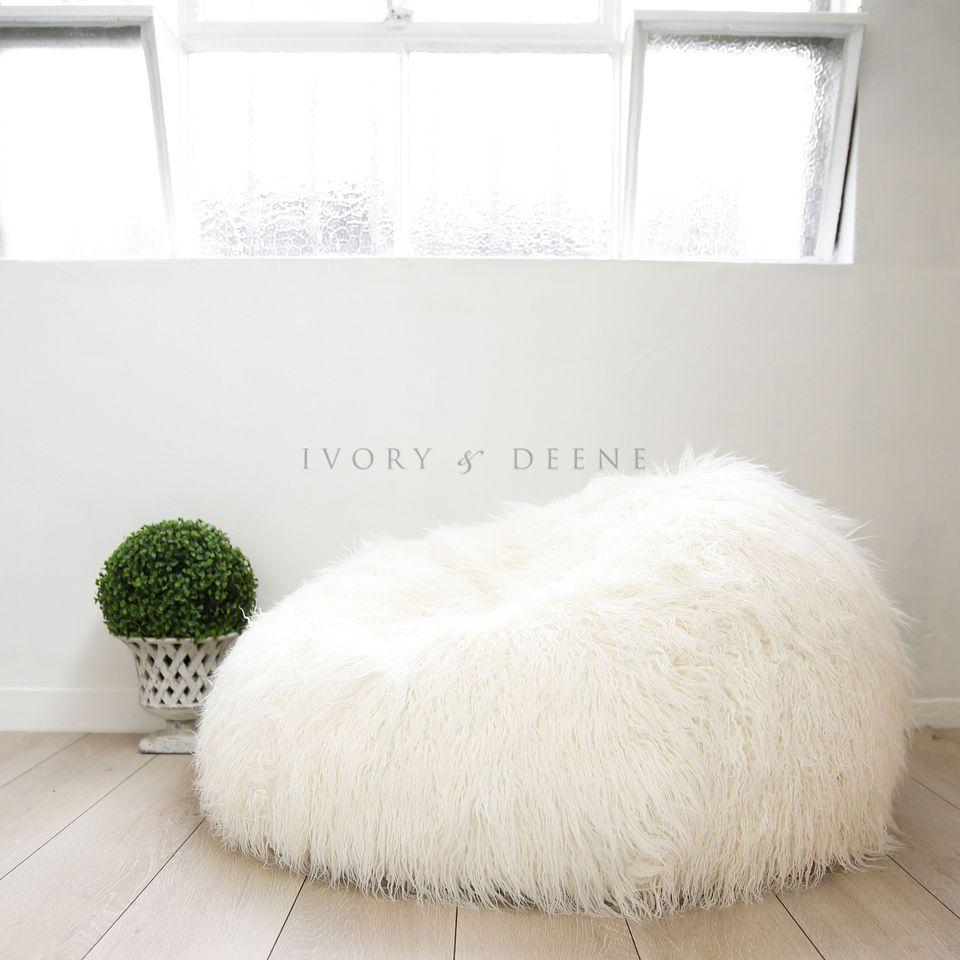 2914322ec7 Super SHAGGY FUR BEAN BAG Cover Soft Cloud Chair Large Plush Luxury Beanbag  NEW
