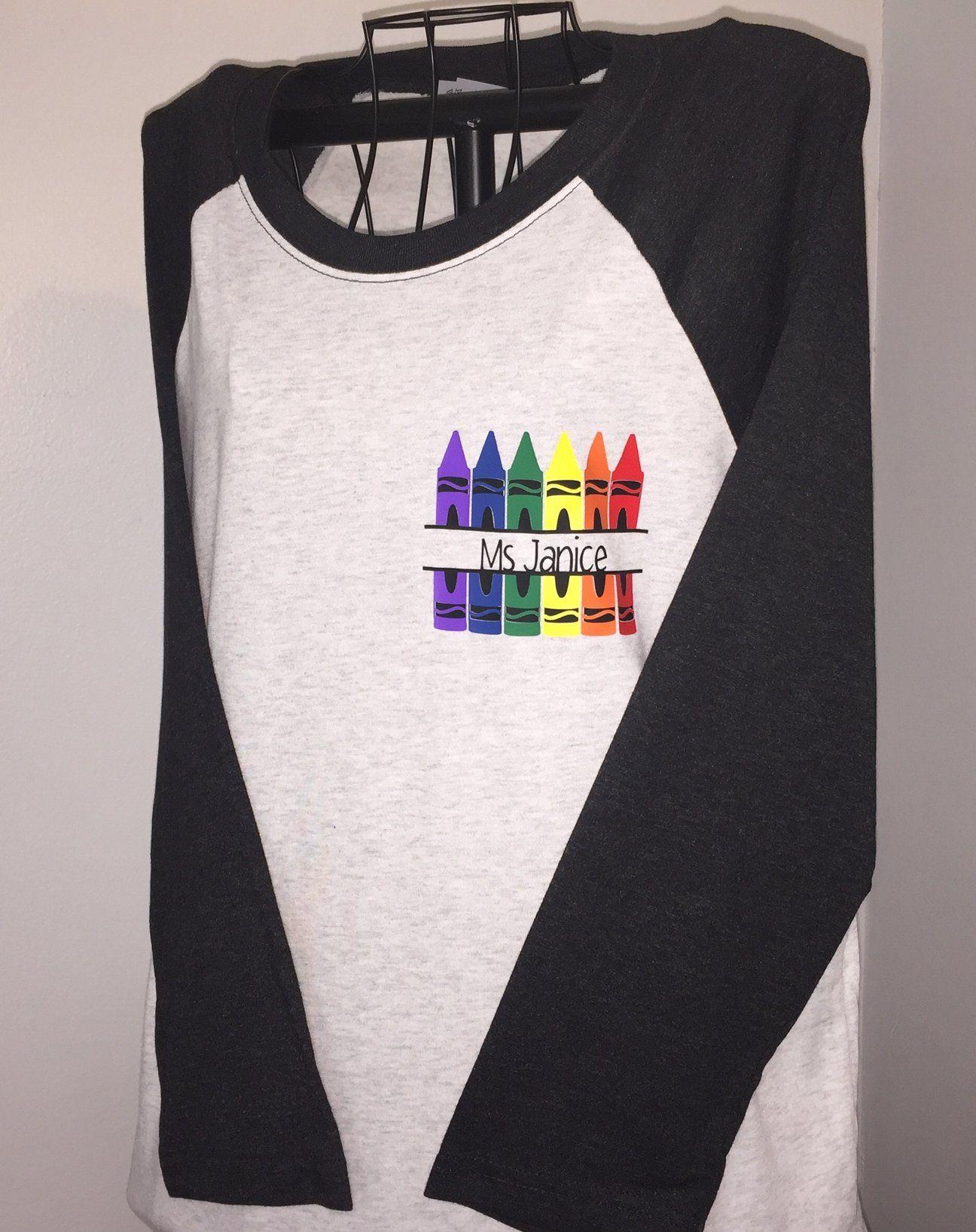 765ca39b6 Teacher Name in Crayons Personalized Split Monogram Adult Unisex Triblend  Baseball Style Raglan Shirt