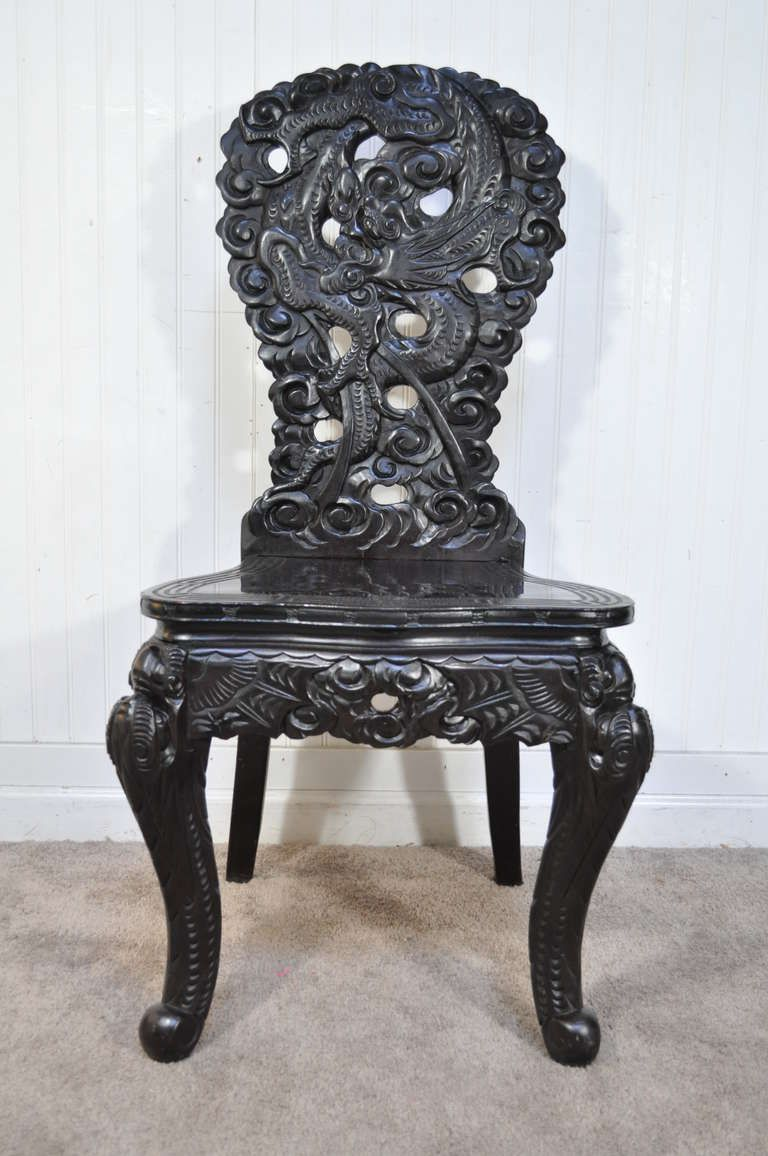 Exquisitely Carved Dragon Ebonized Oriental Chinese Writing Desk and Side  Chair - Exquisitely Carved Dragon Ebonized Oriental Chinese Writing Desk