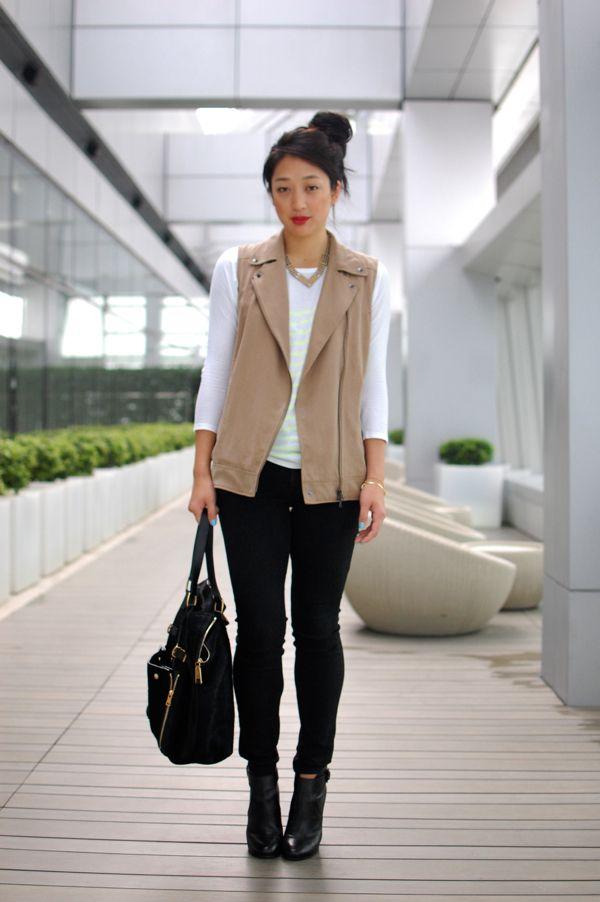 eea333ded black, white, beige, vest, #streetstyle   streetstyle (women ...