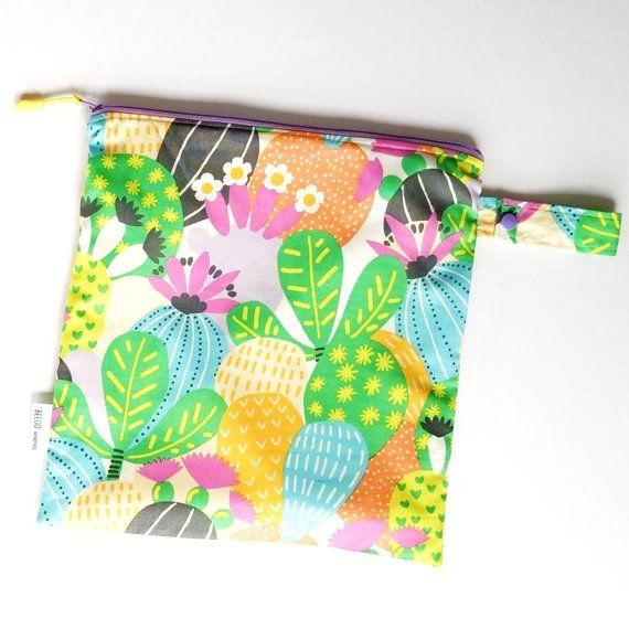 Wild Cactus Wet Bag Bikini Bag Diaper Clutch Reusable Produce