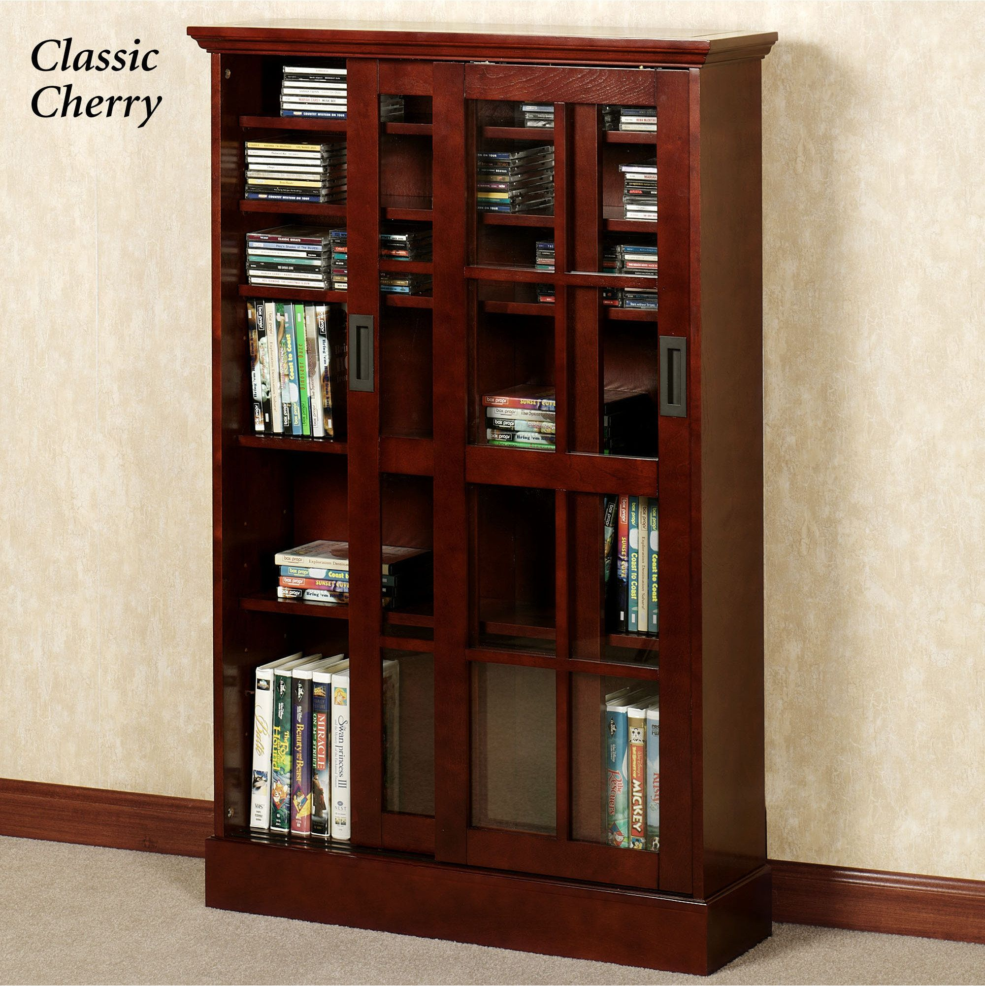 Malcolm Media Storage Cabinet Bookcase With Glass Doors Glass Cabinet Doors Cherry Bookcase