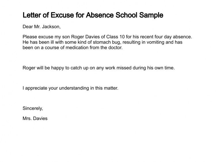 excuse letter for absent student sample letter sample excuse letter notes template 12690