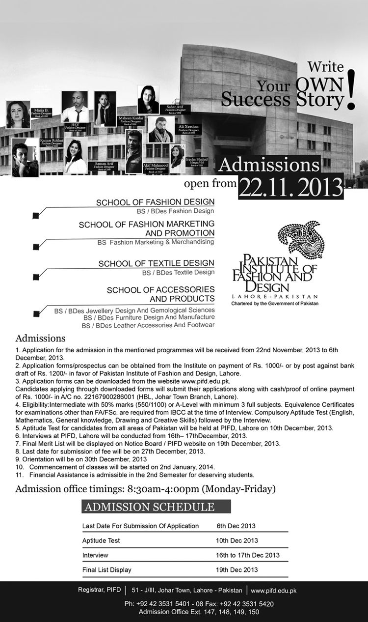 Admission Are Open In Pakistan Institute Of Fashion Design For