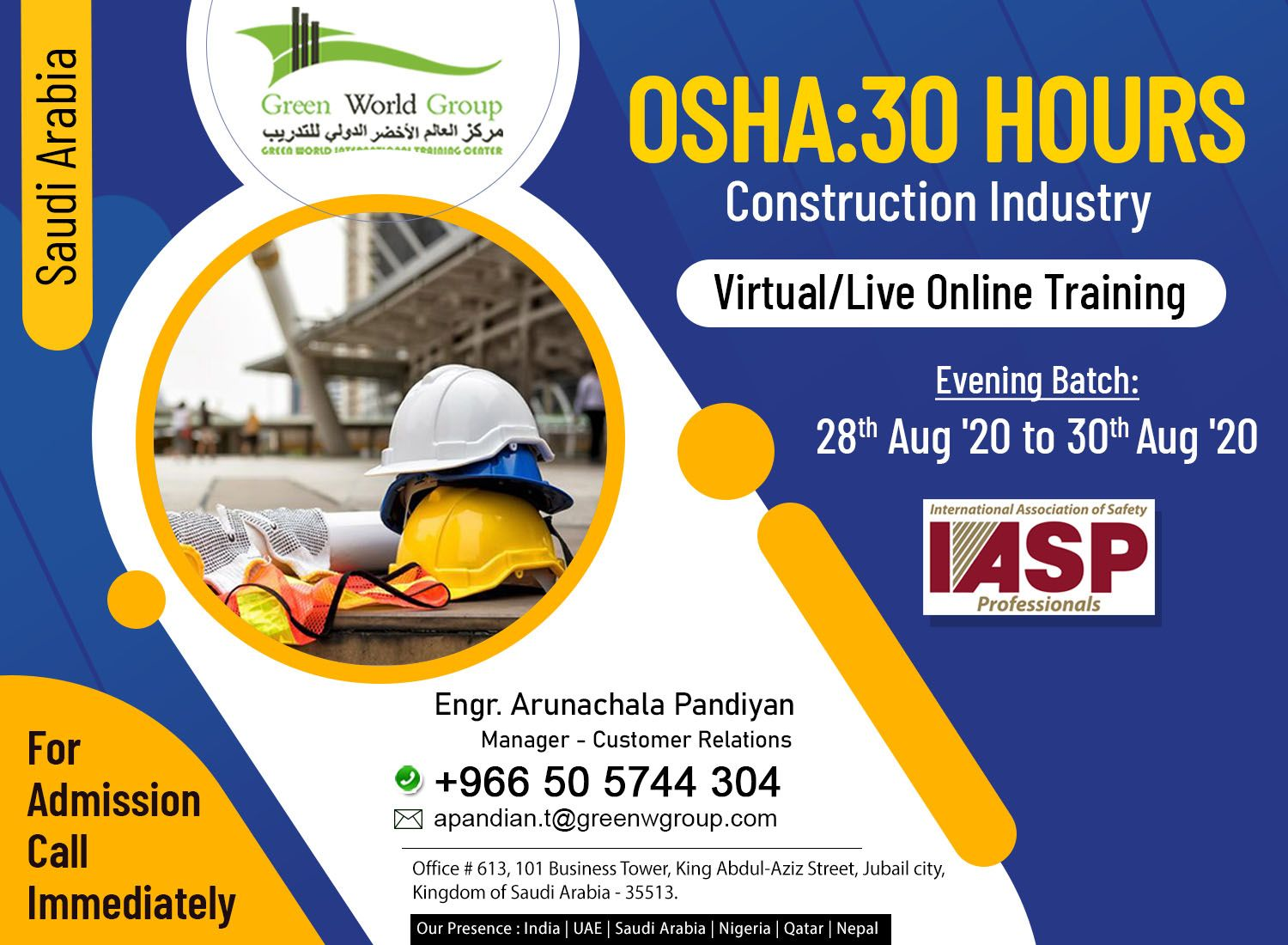 OSHA 30 Hour Construction Industry Nebosh IOSH