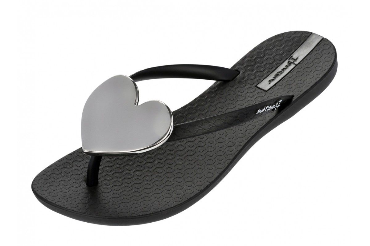 7a768f631 Ipanema Wave Heart Black Silver Women's Flip Flops | Heels and Flats ...