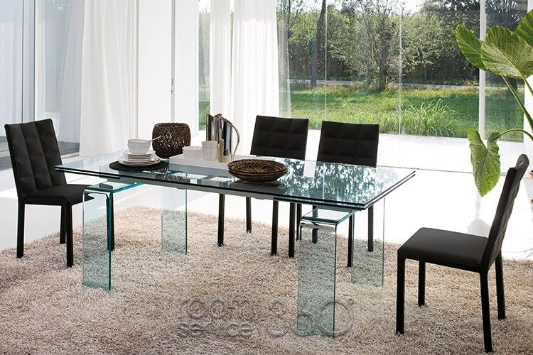 Temple All Glass Dining Table With Colette Chairstonin Casa Classy Italian Glass Dining Room Tables 2018