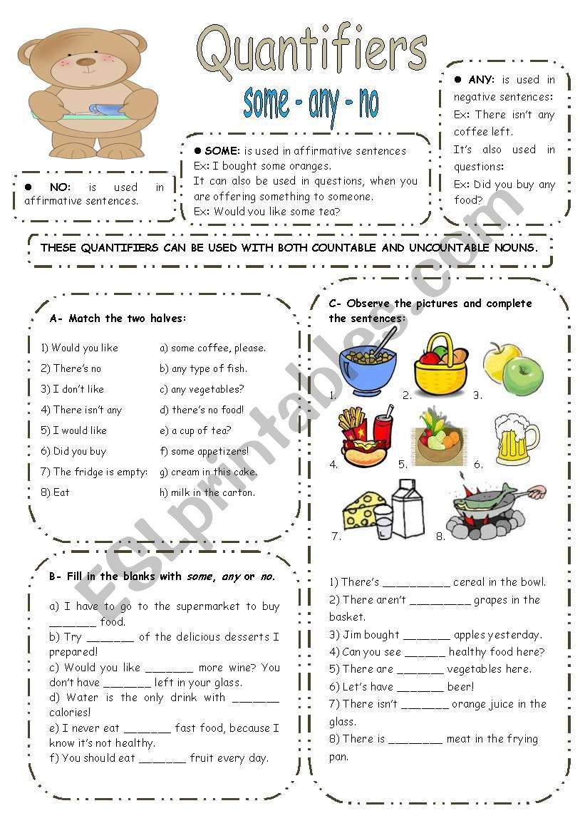 SOME ANY NO exercises ESL worksheet by