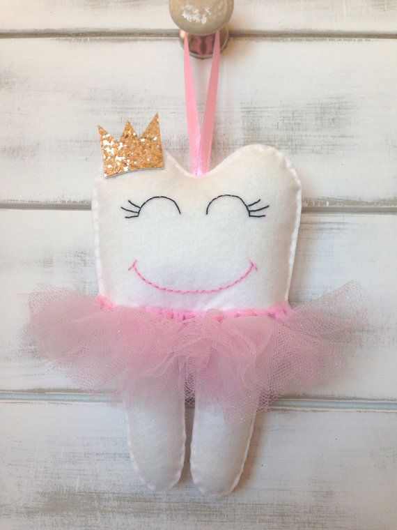Personalized Tutu Tooth Fairy Pillow With Glitter Crown Or