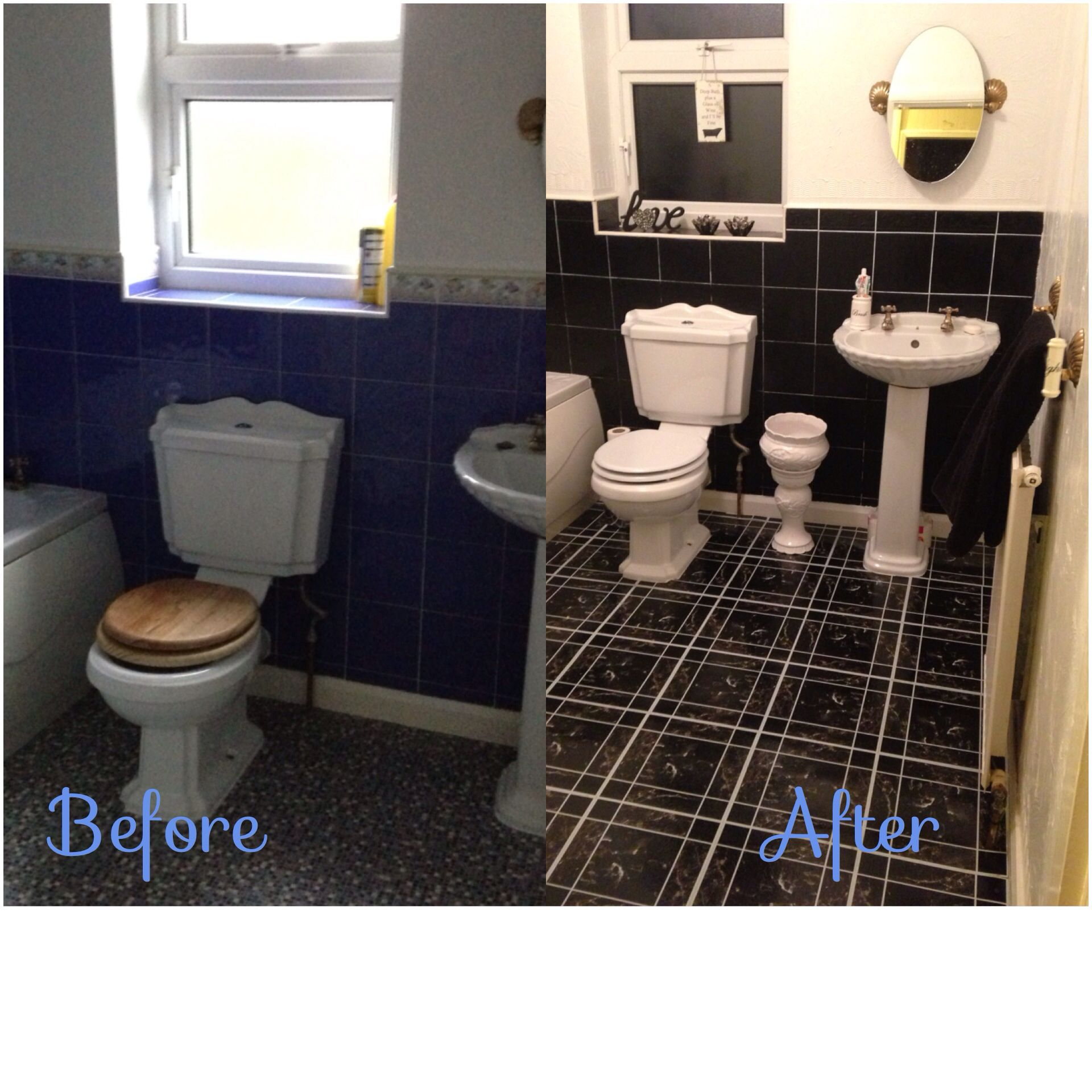 Using Black Tile Paint And Stick On Tiles From Pound Land. In Expensive Way  To Update Your Bathroom In A Rented House. Part 49