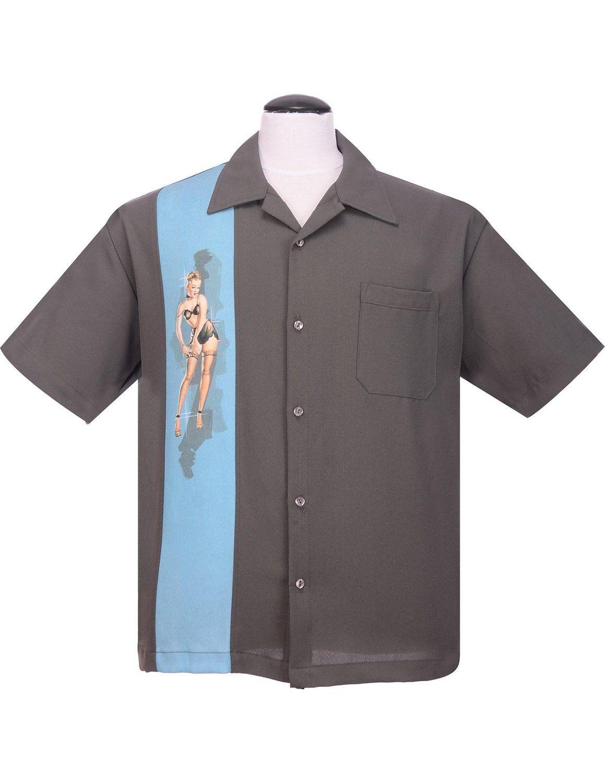 319880e73e33 Steady Pinup Grey Girl Bowling Camp Lounge Shirt Retro 1950s 50s One Panel   46.00 AT vintagedancer.com