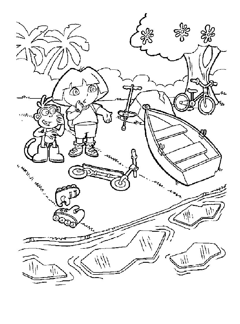 11 Intelligent Coloriage Trotinette Images Dora Coloring Coloring Pages Dora The Explorer [ 1106 x 818 Pixel ]