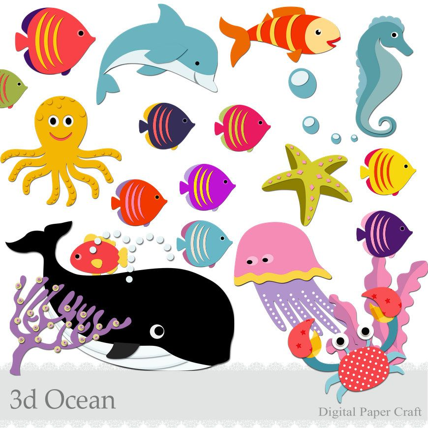 3d Ocean clipart with fish, crab,whale,dolphin,bubbles and more - Instant download- sea animals by DigitalPaperCraft on Etsy