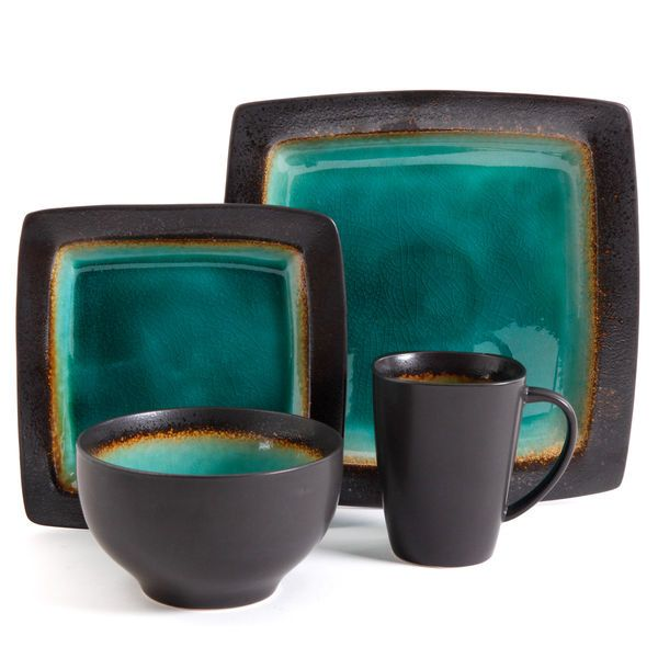 NEW 16 pc dinnerware set jade green black square dishes creamic ...