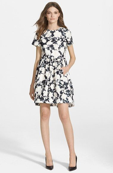 Kate Spade New York Floral Jacquard Fit Amp Flare Dress