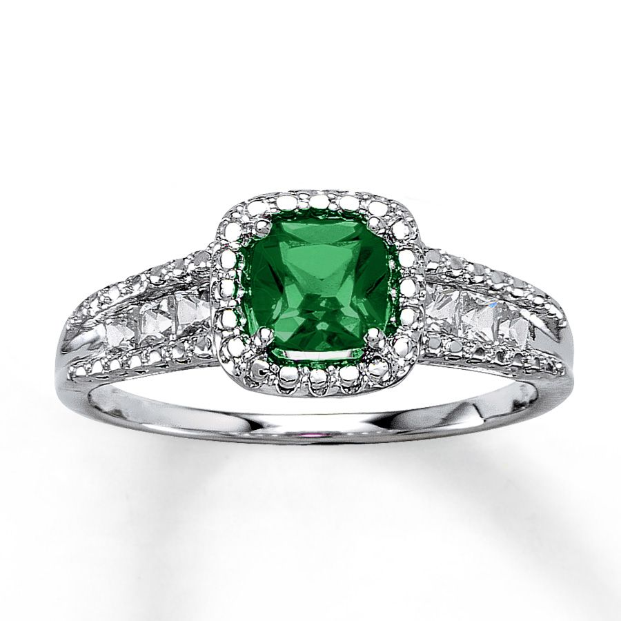 Kay - Lab-Created Emerald Ring Cushion-cut Sterling Silver