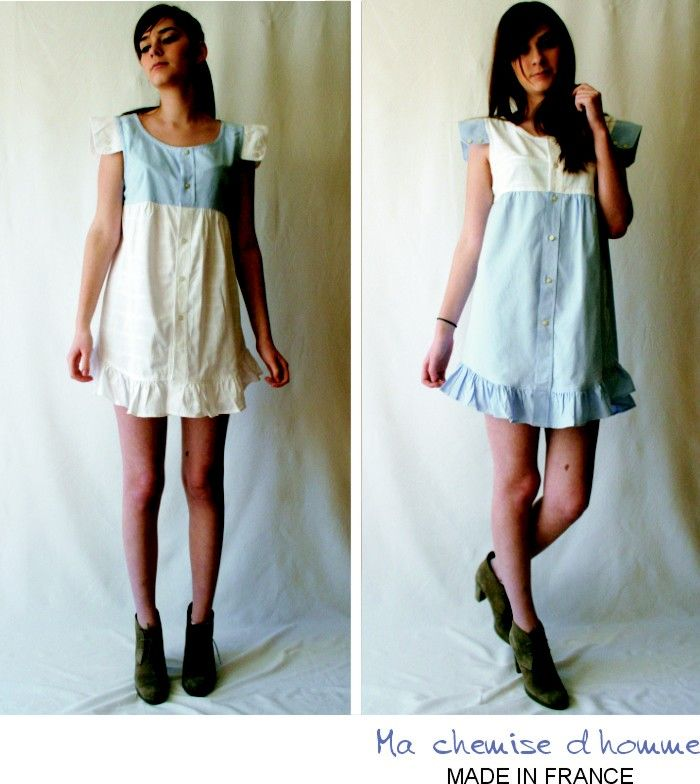 2 dresses from 2 men's shirts