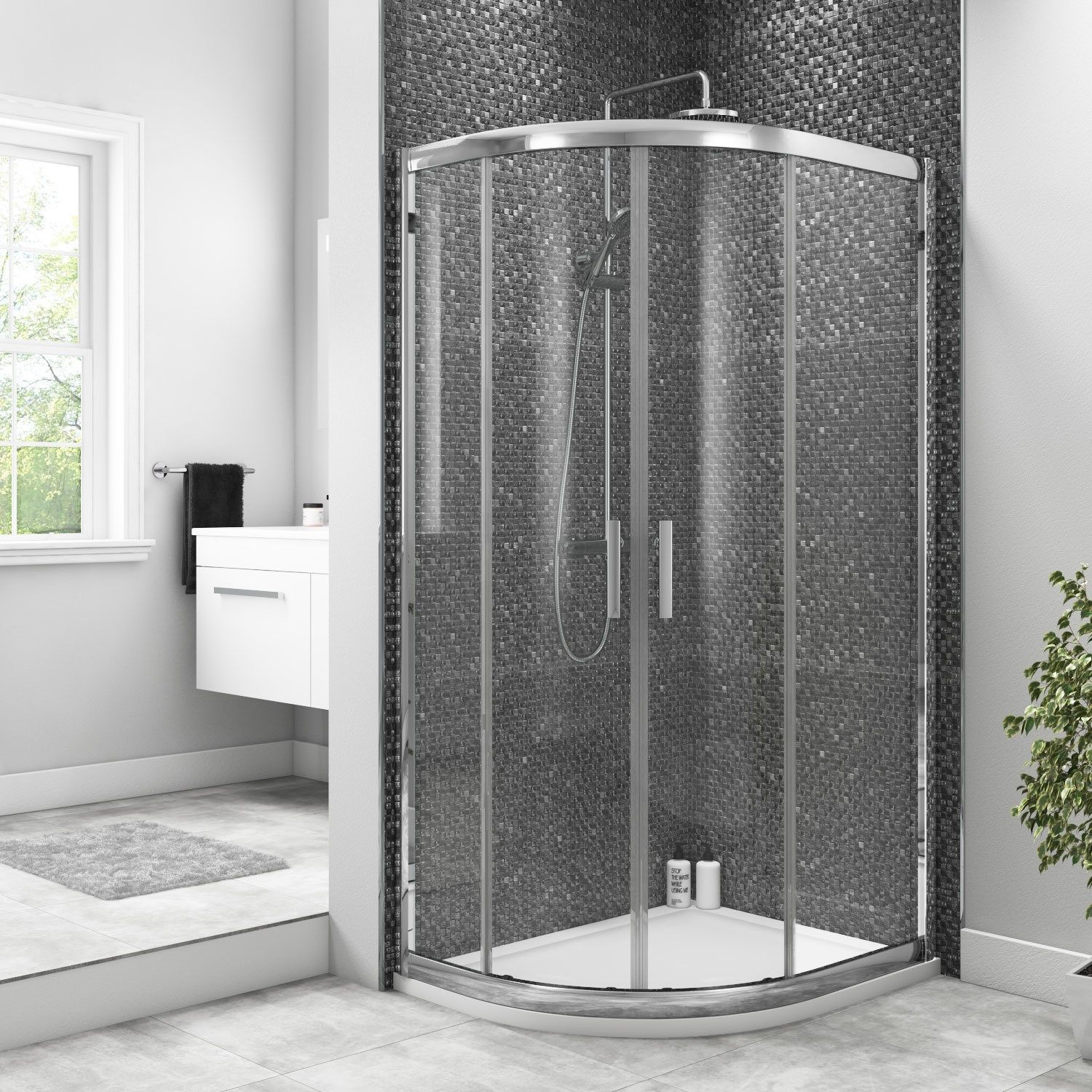 Offset Reversible Quadrant Shower Enclosure With Twin Sliding Door 1200 X 800mm Soak Up Bathroom Quadrant Shower Enclosures Shower Enclosure Quadrant