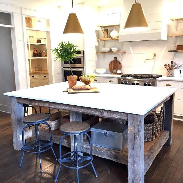 Holly Mathis Interiors, salvage wood island, Ballard designs pendant ...
