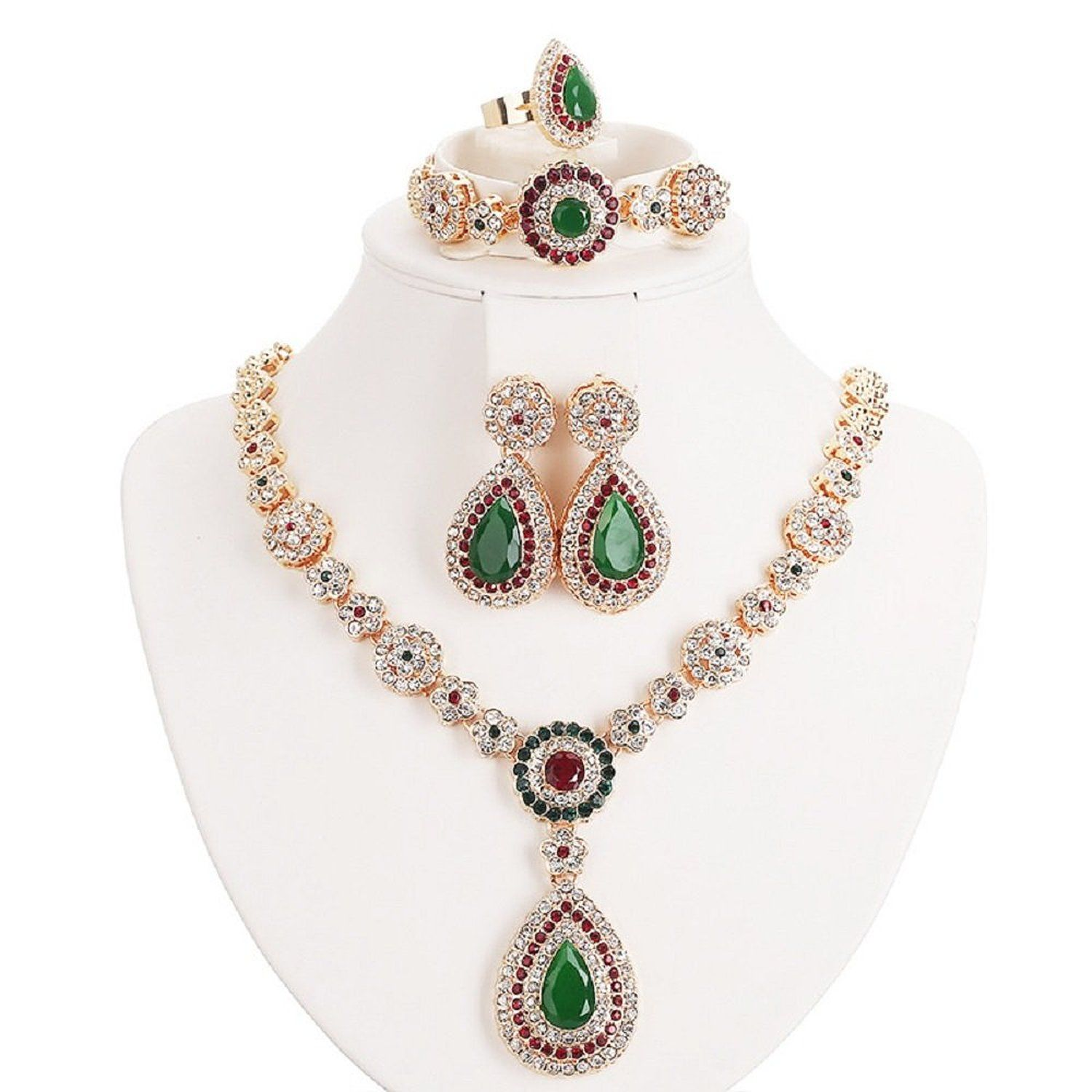 Women gold plated jewelry set red u green beads oval pendant