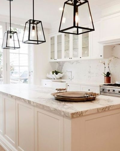 Black Pendant Lights Dos White Marble Kitchen Kitchen Design