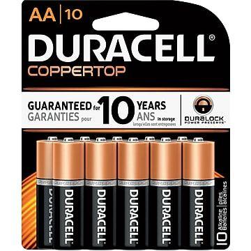 Duracell Coppertop Aa Alkaline Batteries 10 Pack Mn1500b10z Staples Duracell Batteries Duracell Alkaline Battery