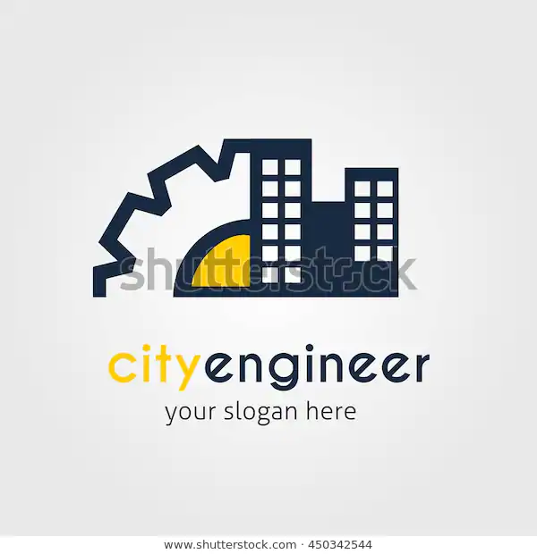 City Engineer Logo Design Template Vector 스톡 벡터(로열티 프리