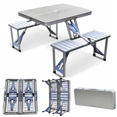 Magshion Furniture Portable Folding Camping Picnic Table with 4 Seats, Aluminum is part of garden Seating Picnic Tables - This portable table is manufactured from lightweight aluminum making it easy to pack up and carry  When folded the table forms a selfcarry case that can be stored almost anywhere  Folding picnic tables are an essential tool of a relaxing outdoor experience and will bring you years of pleasure whether out on an adventure, camping or just enjoying your own garden  This table durable but lightweight and with its aluminum top it is very easy to clean  Features  Extremely stable  Easy wipe table top  Quick SetUp  Lightweight  Suitable for indoors and outdoors  Heavyduty, high impact plastic  Folds compactly for easy storage or transport  Tilt and lock  Durable high impact plastic table top  Seating for 4 adults  Reinforced seat structure  Combination of aluminum and steel parts for lighter weight and stronger construction