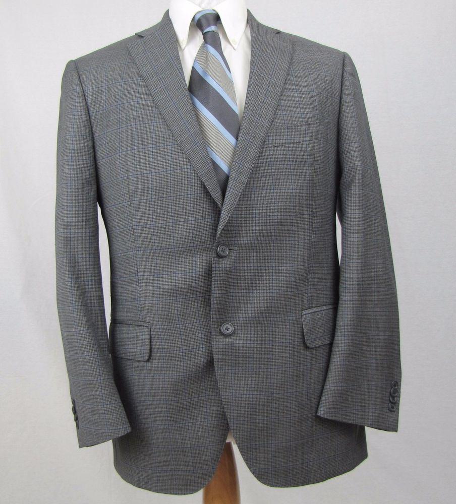 Peter Millar Blazer 40R 100% Wool Gray Windowpane Plaid Double Vent Sport Coat #PeterMillar #TwoButton