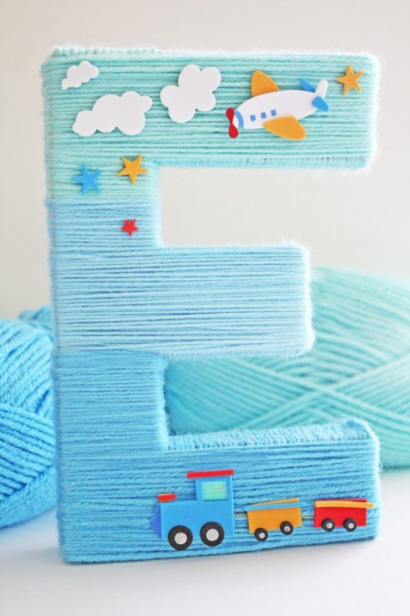 Blue Yarn Wrapped Ombre Monogram Letter   CatchMyParty.com Baby room
