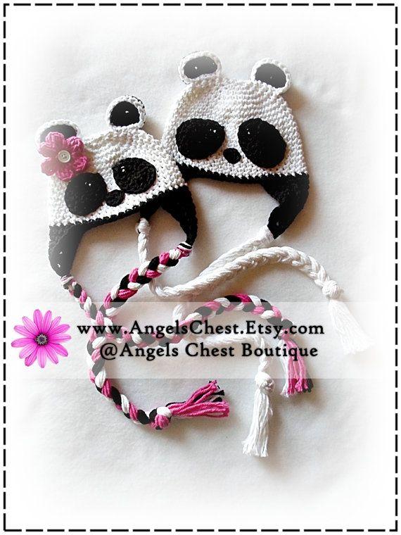 PANDA BEAR Boy and Girl Crochet Hat PDF Pattern Sizes Newborn to ...