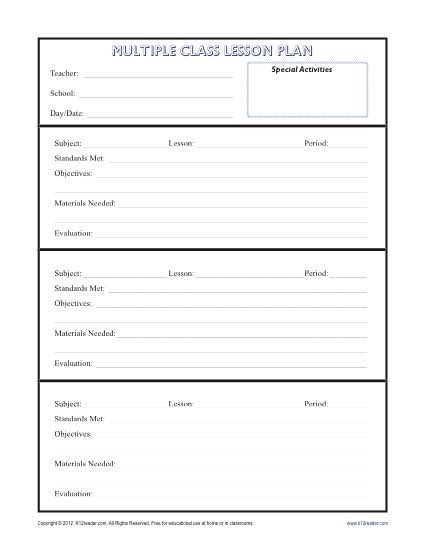 daily multi class lesson plan template secondary classroom