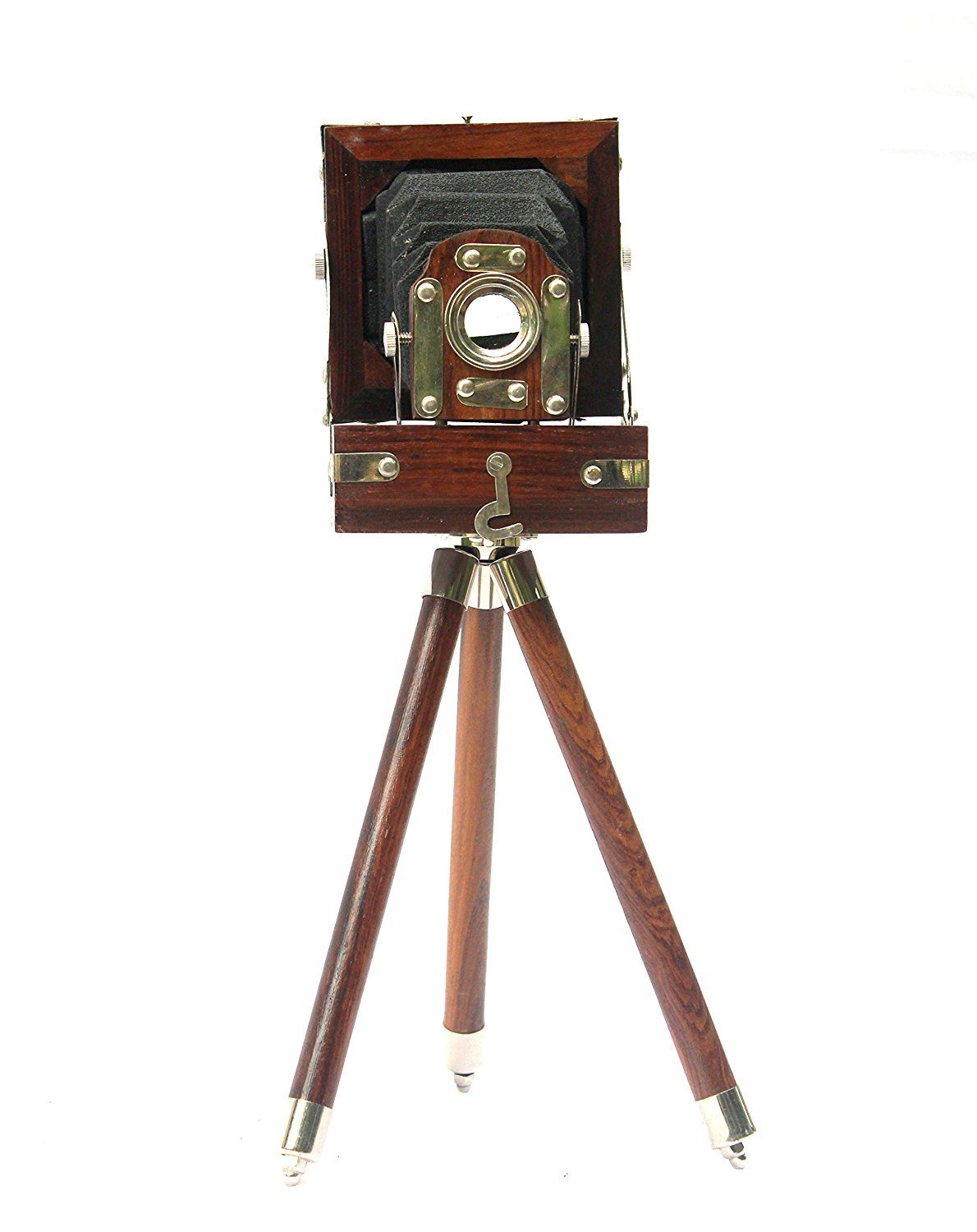 New Antique Vintage Look Film Camera Wooden Tripod Collectible Decor Small Brown