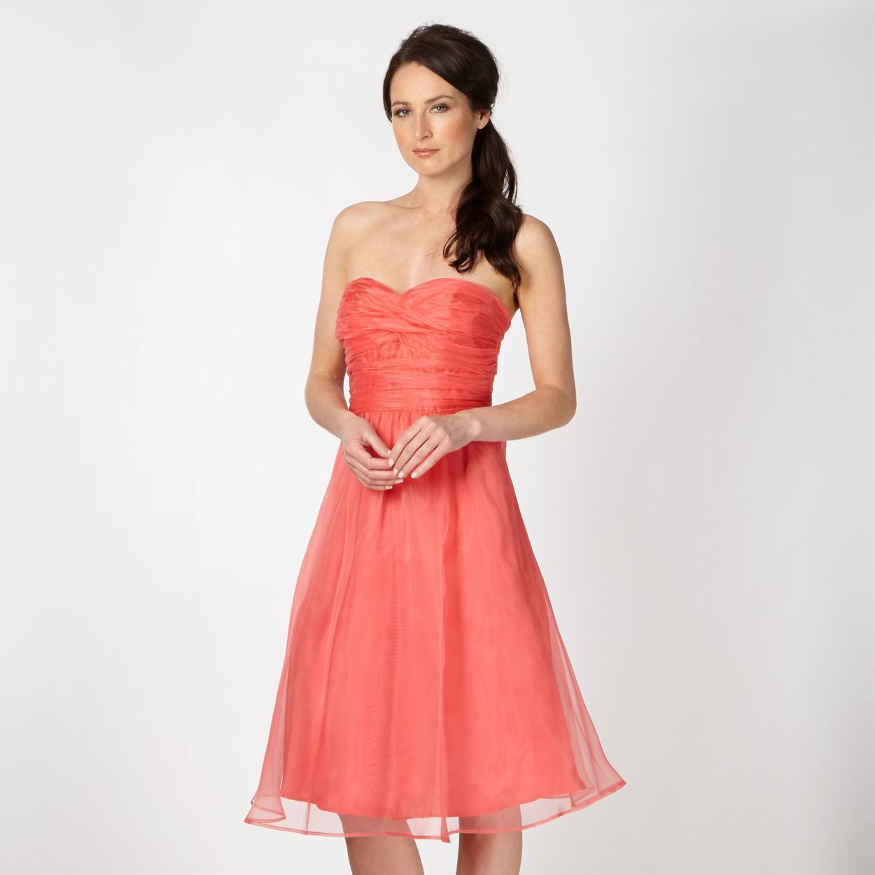 Coral organza prom dress bridesmaids pinterest prom dresses coral bridemaid prom debenhams debut coral dress size 8 ombrellifo Image collections