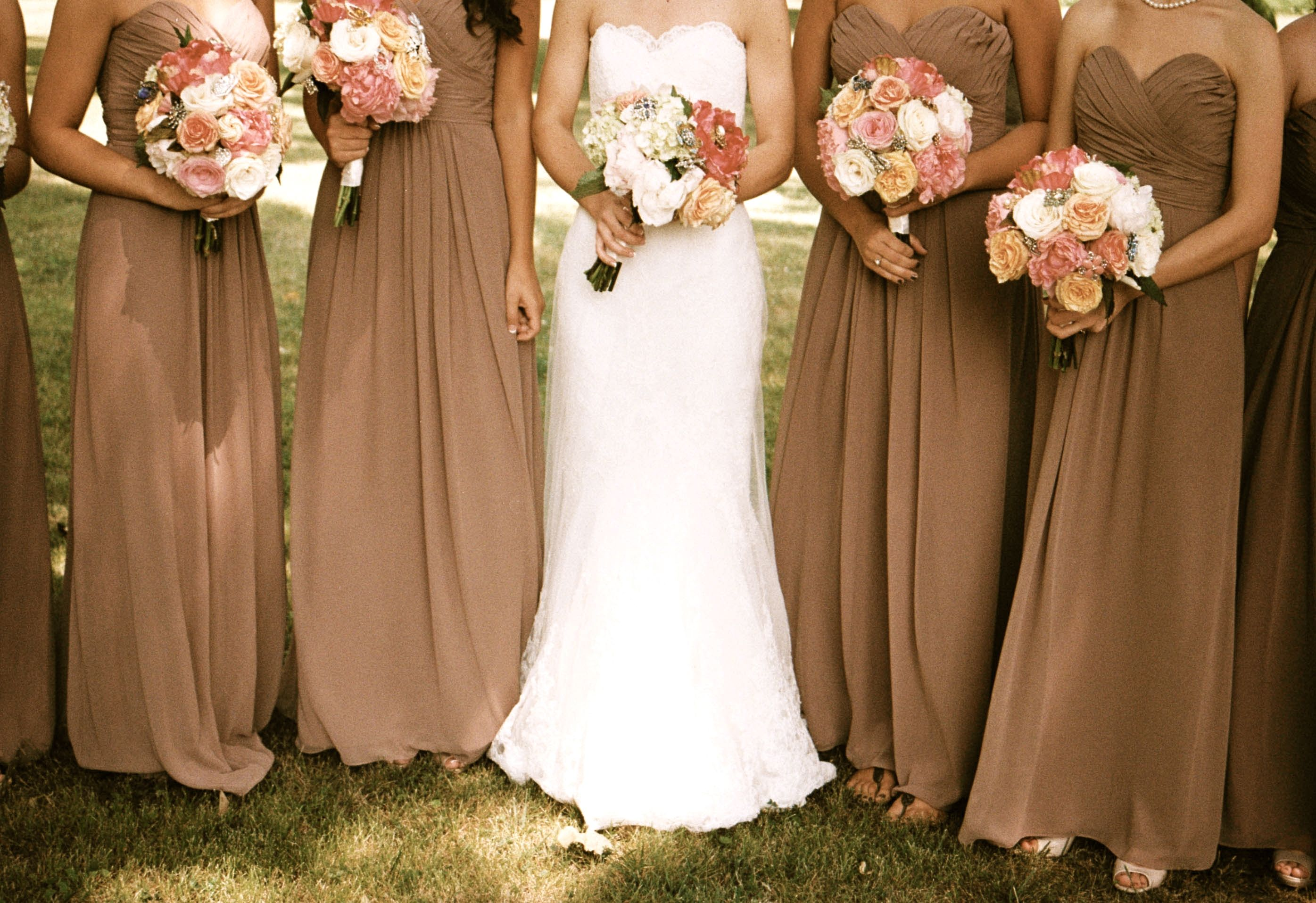 Mocha bridesmaid dresses antique lace pink peonies for October wedding bridesmaid dresses