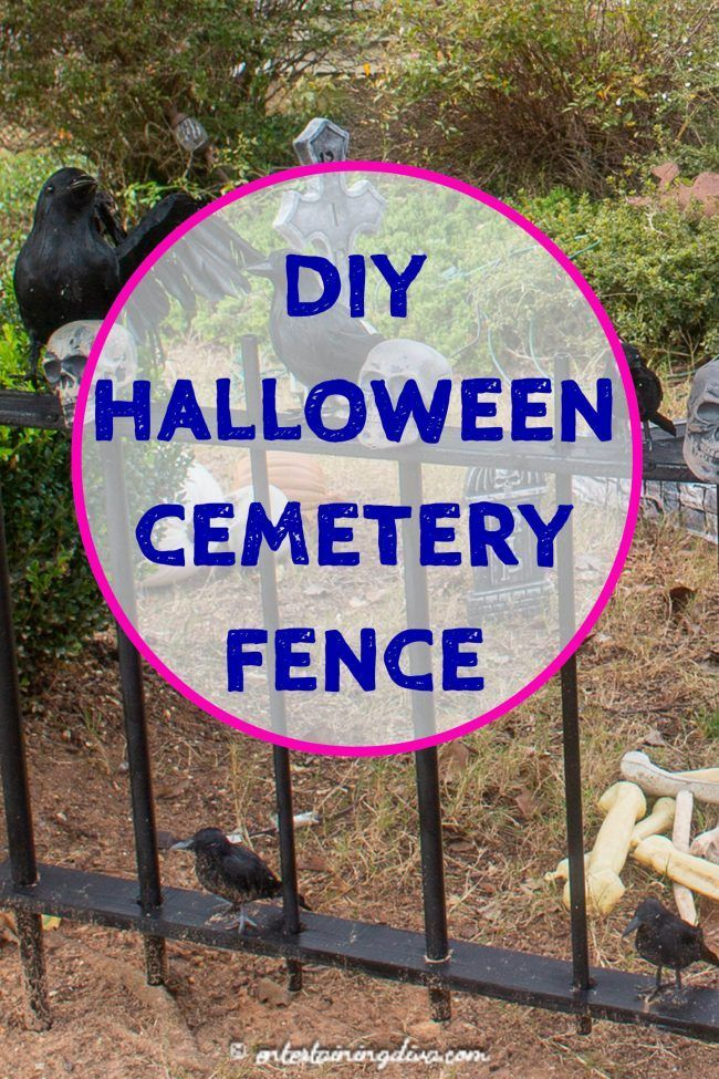 I love this DIY Halloween cemetery picket fence. It's cheap and easy to make, and it looks spooky around my Halloween graveyard. Great outdoor Halloween decor! #halloweenobsession #halloweencemetery #yardhaunt #diyhalloween #halloween #diyhalloweendecor