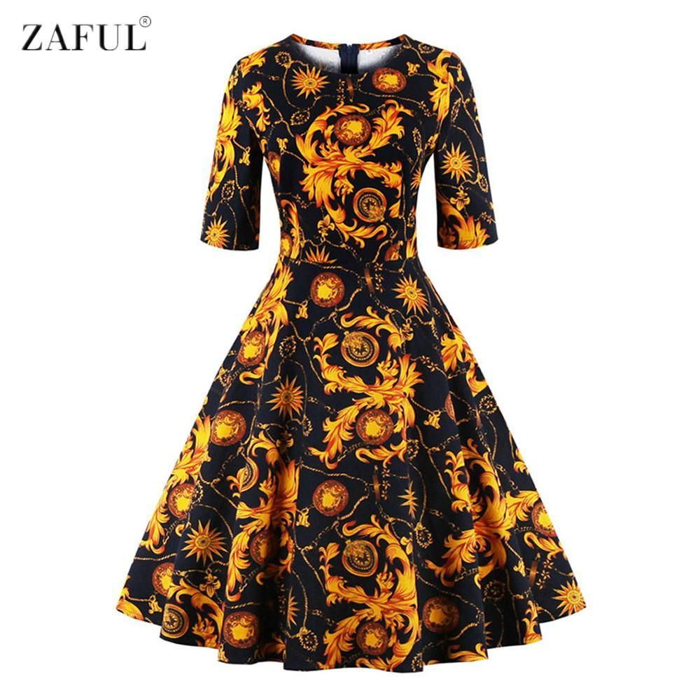 Zaful women o neck half sleeves aline s s audrey vintage dress