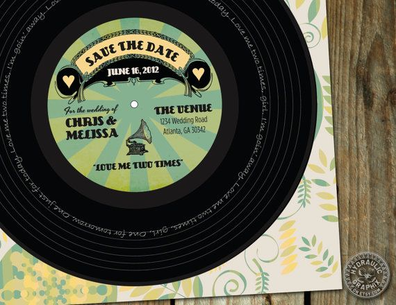 Record Wedding Invitations: Save The Date Record For Wedding, Wedding Invitation
