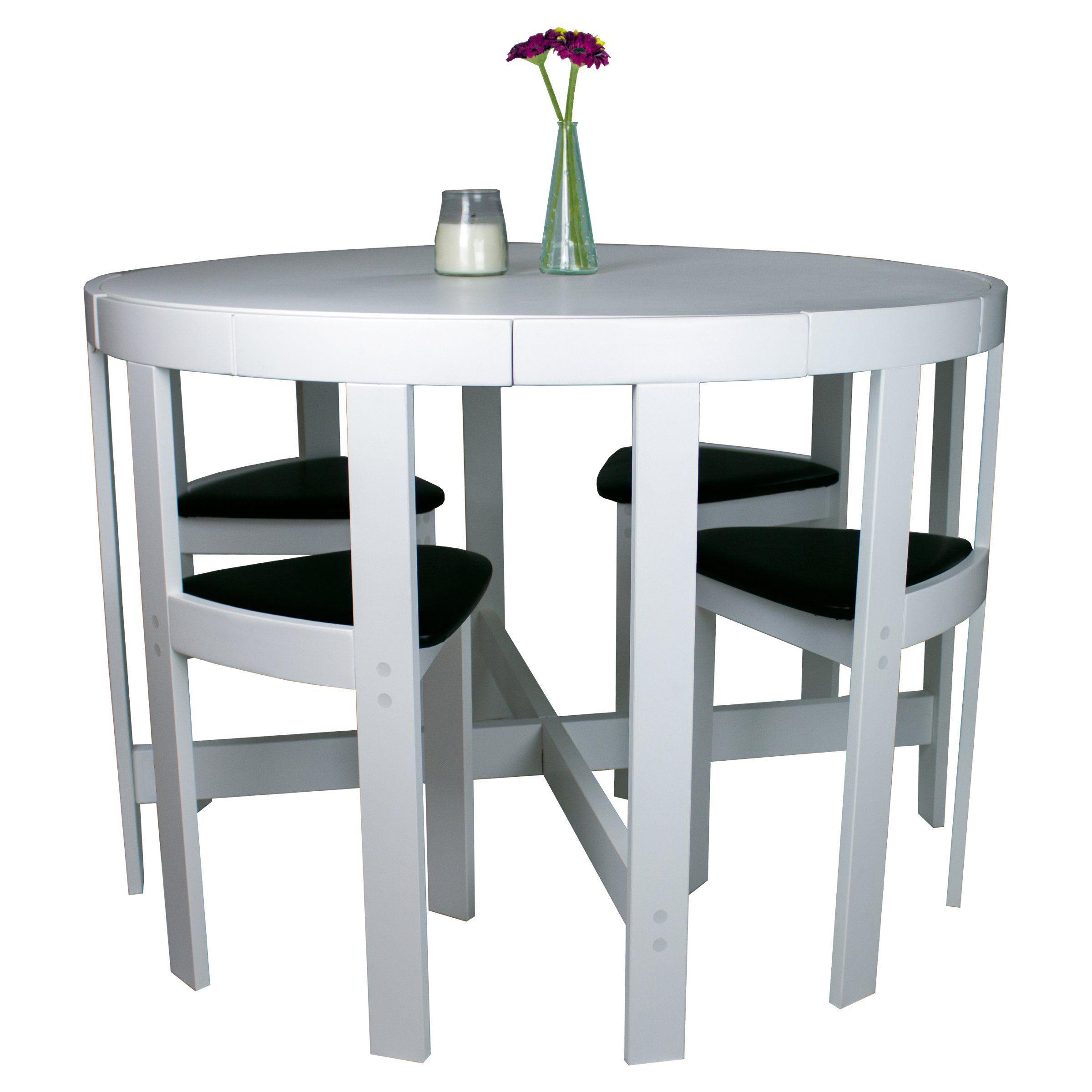 Modern Round 5 Piece Space Saving Dinette Set White Dining Table Sets At Hayneed Contemporary Dining Sets Dining Sets Modern Space Saving Dining Room Table