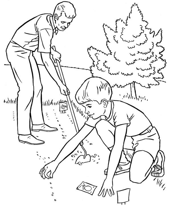 Gardening Helping Father Spring Gardening Coloring Pages Helping