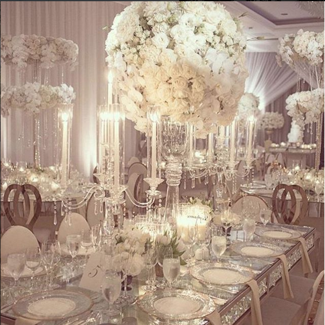 Wedding decor all white  aboutdetailsdetails  tall white floral centerpieces wedding