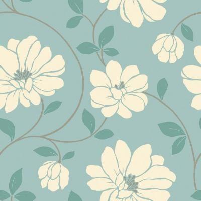 The wallpaper company 56 sq ft aqua large floral trail - Floral wallpaper home depot ...
