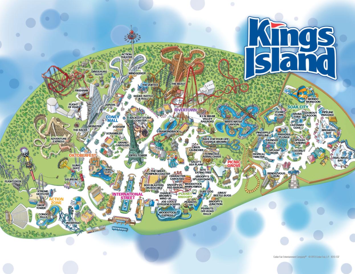 2013 Kings Island Map Soak City Kings Island Island Map
