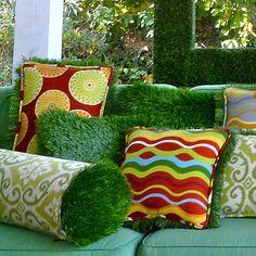 Astros Turf, Pillows Ideas, Backyards Fun, Artificial Turf, Funky Pillows,  Turf Nice Look