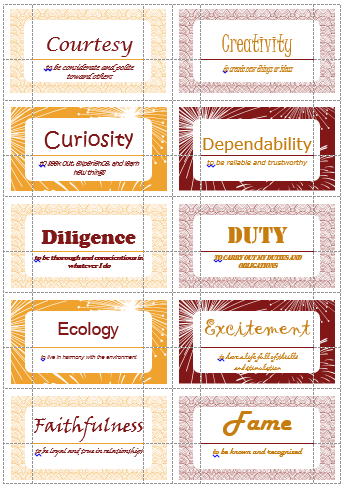 100 Value Cards (C-F) inspired from Motivational Interviewing  Print
