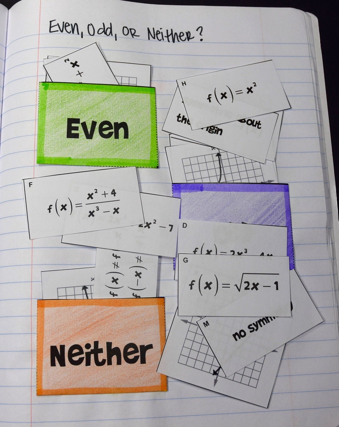 Even Odd Neither Functions Card Sort Pockets For Interactive Notebooks Or Sorting Mat For Standard Math Interactive Notebook Sorting Cards Math Notebooks