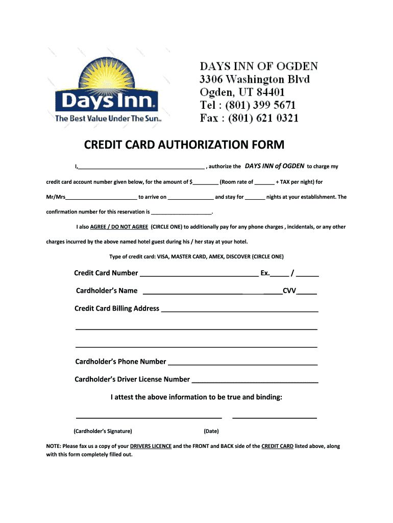 Days Inn Montrose Colorado Credit Card Authorization Fill For Hotel Credit Card Authorization Fo Hotel Credit Cards Business Card Template Word Card Template