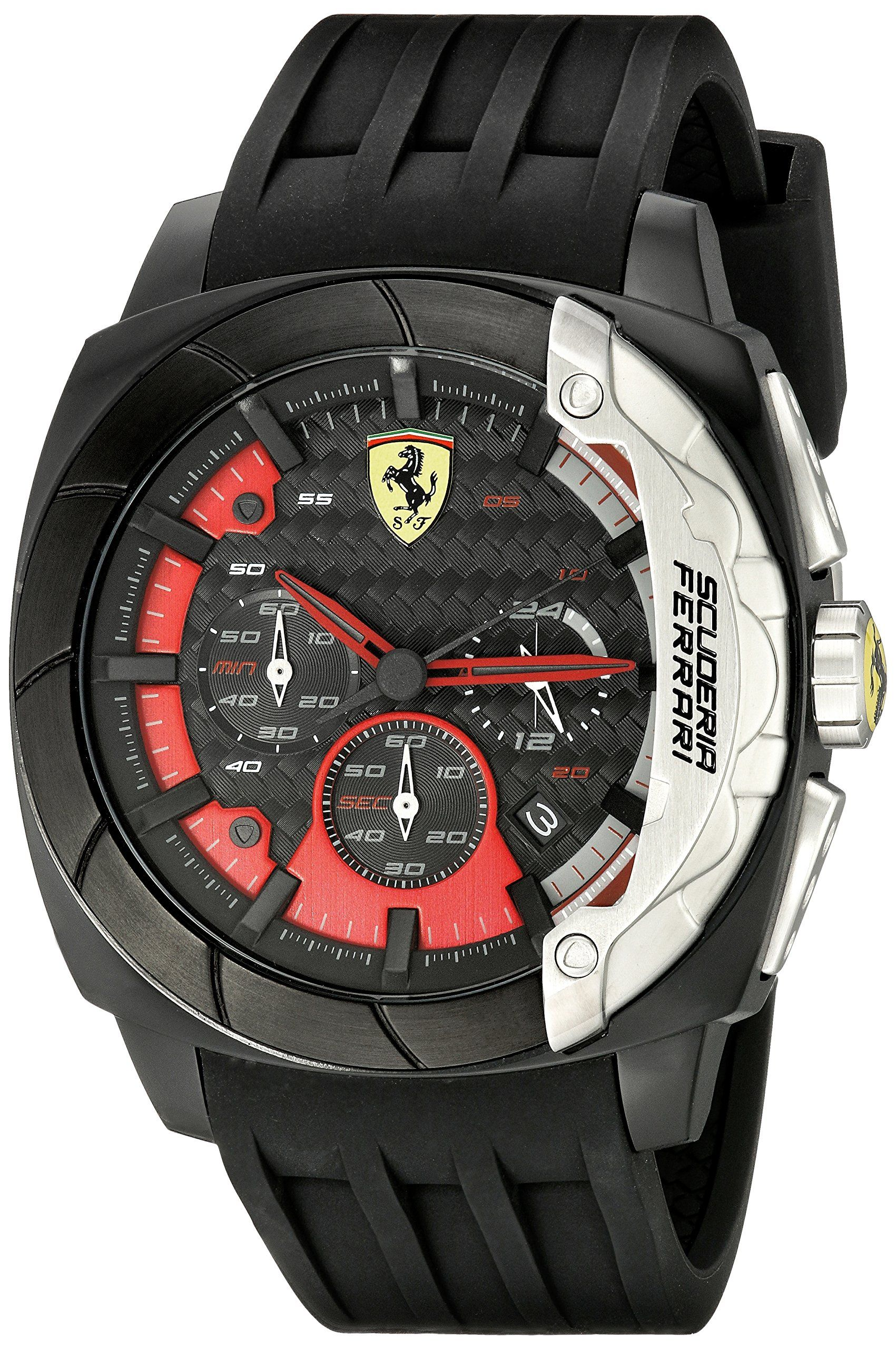 035b1b0442f Ferrari Men s 830205 Aerodinamico Analog Display Quartz Black Watch ...