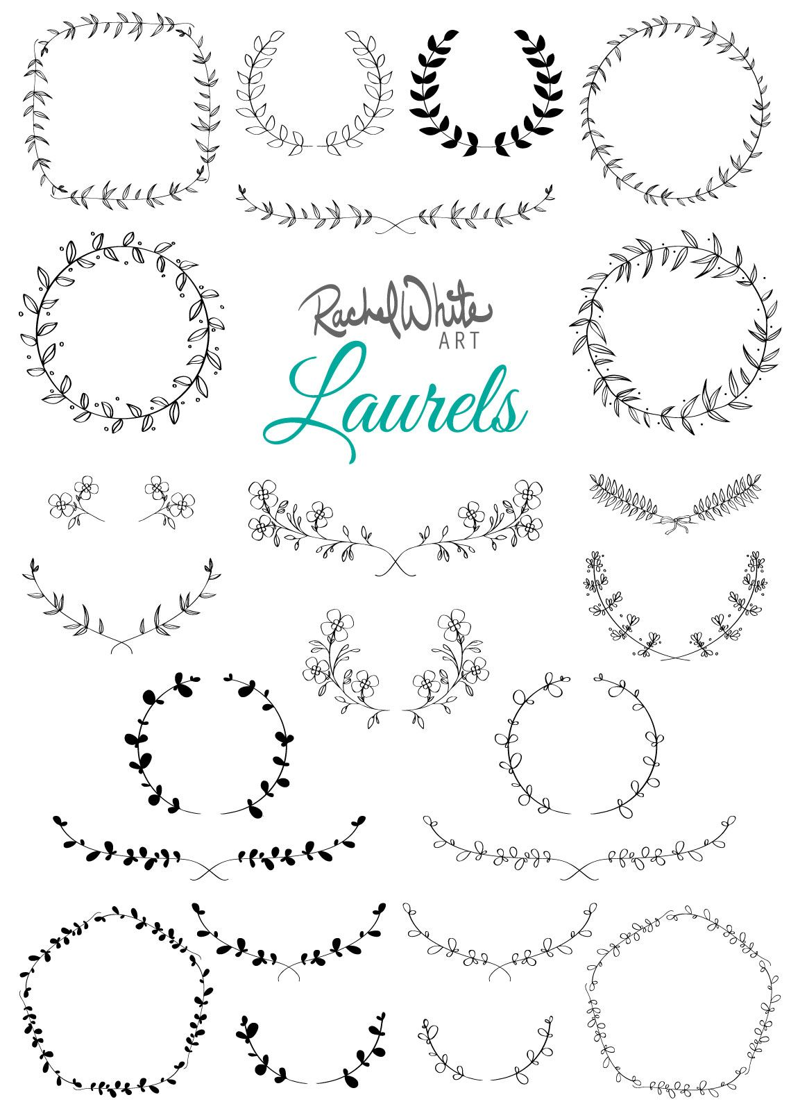 Photo of Laurels Vector Illustrations – AI EPS and PNG – 23 images in gold foil, black, white and color – instant download