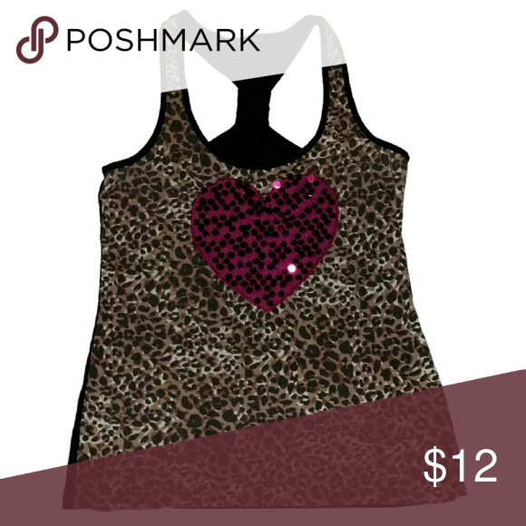 38f54902a09ff Shop Women s Wishful Park size M Tank Tops at a discounted price at  Poshmark. Description  Cheetah print tank w pink sequined heart.